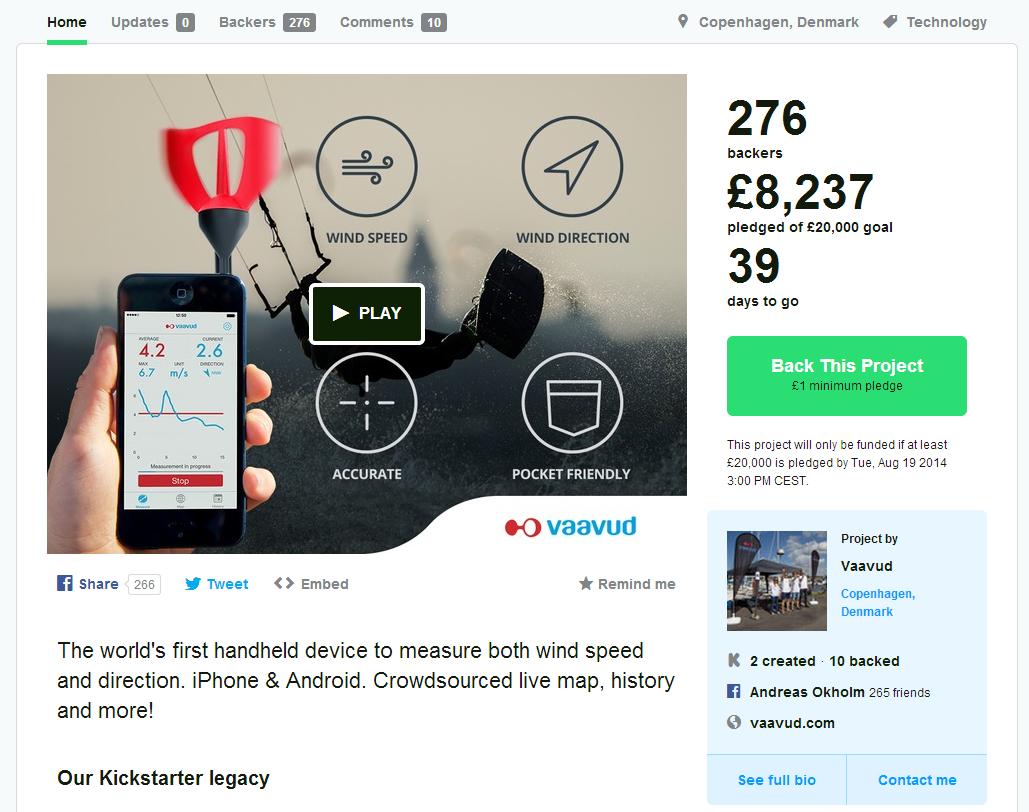 Vaavud Kickstarter Wind Meter V 2.0